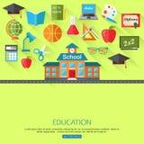 Skola och utbildningsbegreppsbakgrund med stället Arkivbild