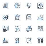 Skola och utbildningssymbolsuppsättning 4 - blå serie Arkivfoton