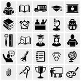 Skola- och utbildningsvektorsymboler ställde in på grå färger. Arkivfoton