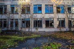 Skola på den Chornobyl zonen arkivbild