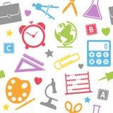 Skola Seamless tillförsel mönstrar royaltyfri illustrationer