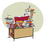 Skola skrivbordet med böcker, litteratur och arkivet royaltyfri illustrationer