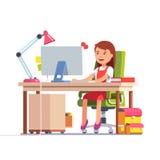 Skola ungeflickan som framme studerar av datoren royaltyfri illustrationer