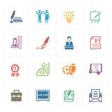 Skola & utbildningssymbolsuppsättning 4 - kulör serie Arkivbilder