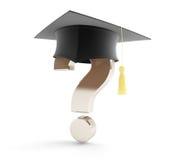 Skolaavläggande av examen under en frågefläck Royaltyfri Bild
