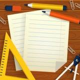 Skolabakgrund med brevpapper, pappersark och stället för te royaltyfri illustrationer