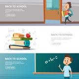 Skolabaner Illustrationer av tillbaka till skolatecken royaltyfri illustrationer