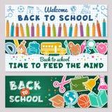 Skolabaner Vektorillustrationer för tillbaka till skolabaner stock illustrationer