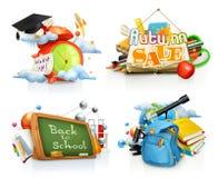 Skolabegrepp, vektoruppsättning stock illustrationer