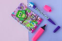 Skolabrevpapper med den stilfulla enhörningpennan och ugglarestanteckningsbok på en rosa och purpurfärgad duotonebakgrund arkivfoton