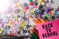 Skolabrevpapper som inramar för skola och kontor Education/BACK arkivbilder