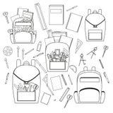 Skolabrevpapper, vektoruppsättning för skola royaltyfri illustrationer