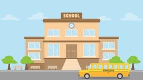 Skolabyggnad, skolbusslägenhetstil, tillbaka till skolabegreppet, royaltyfri fotografi