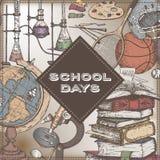 Skoladagar färgar mallen med konst, sporten, vetenskap, litteratur släkta objekt royaltyfri illustrationer
