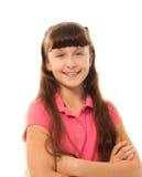 Skolaflicka med långt hår royaltyfri fotografi