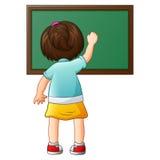 Skolaflickahandstil på en svart tavla royaltyfri illustrationer