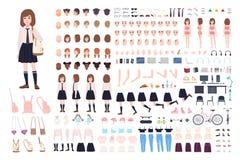 Skolaflickakonstruktör eller DIY-sats Uppsättning av unga kroppsdelar för kvinnligt tecken, ansiktsuttryck, likformig som isolera stock illustrationer