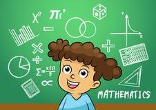 Skolaflickan skriver matematikteckenobjekt i skolasvart tavla Royaltyfria Bilder