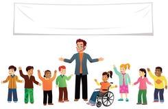 Skolagrupp av ungar stock illustrationer