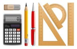 Skolahjälpmedel för att lära, blyertspenna, penna, räknemaskin, linjaler och gummi royaltyfri illustrationer