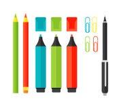 Skolahjälpmedeltillförsel på vit Vektor Illustrationer