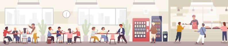 Skolakafeteria, kantin eller bespisning med elever som bär magasin med mål, sitter på tabeller och äter lunch stock illustrationer
