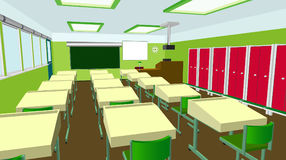 Skolaklassrum med den svart tavlan och skrivbord Grupp för utbildning, bräde, tabell och studie, svart tavla och kurs Arkivfoton