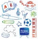 Skolaklotter, vektoruppsättning Arkivbild