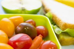 Skolalunchask Bröd äpplet, godisar, behandla som ett barn havre, moroten och tomater i grön plast- behållare arkivbild