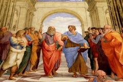 Skolan av Aten, Raphael-rum` s i museer av Vaticanen, Rome Arkivfoton