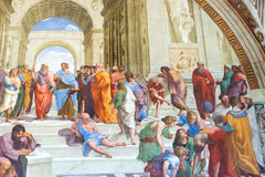 Skolan av Aten vid Raphael i apostolisk slott i Vaticanen C fotografering för bildbyråer