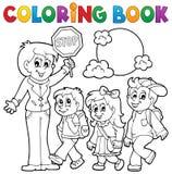 Skolan för färgläggningboken lurar tema 1 royaltyfri illustrationer