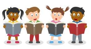 Skolan lurar läsa en bok Royaltyfri Bild