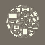 Skolan och utbildning planlägger beståndsdelen som är ordnad i en cirkel Arkivfoto