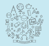 Skolan och utbildningslinjen symboler med översikten utformar Arkivfoton