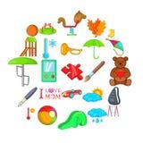 Skolan spelar symboler ställde in, tecknad filmstil vektor illustrationer