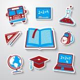 Skolan utbildningsklistermärkesymboler ställde in med - jordklotet Royaltyfri Foto
