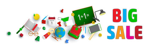 Skolaobjekt Plana designbegrepp för vektor av försäljningen Utbildning vektor illustrationer