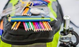 Skolapåsen, ryggsäcken, blyertspennor, pennor, radergummit, skolan, ferie, linjaler, kunskap, bokar Arkivbilder