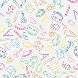 Skolar den utdragna modellen för handen tillbaka till skola och utbildning med den tunna linjen symboler för färg tillförsel på v royaltyfri illustrationer