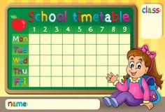 Skolaschema med den lyckliga flickan Royaltyfri Fotografi