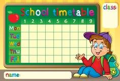 Skolaschema med den lyckliga pojken Arkivfoto