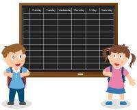 Skolaschema med ungar stock illustrationer
