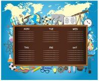 Skolaschema på svart tavlabakgrund med Arkivfoton