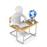 Skolaskrivbord och stol på vit bakgrund illustrat 3d Arkivbild