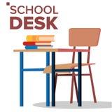 Skolaskrivbord, stolvektor Klassiskt tomt träskolamöblemang Isolerad plan tecknad filmillustration stock illustrationer