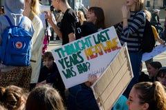 Skolaslag för klimatförändring royaltyfria foton