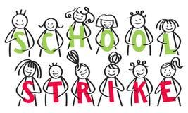 SKOLASLAGgrupp av pinnefolk som rymmer gröna och röda bokstäver mot klimatförändring stock illustrationer
