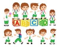 Skolastudent Characters Set Baksidt till skolavektorillustrationen royaltyfri illustrationer