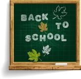Skolasvart tavla med uttryck tillbaka till skolan Fotografering för Bildbyråer